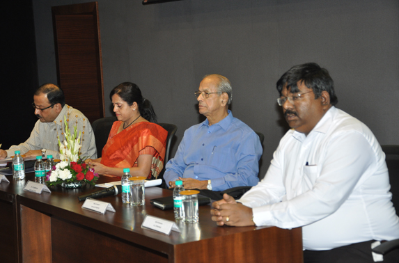 (From Left to Right) ; Mr. A. A. Bhatt, Director (Systems) MMRC, Mrs. Ashwini Bhide (MD) MMRC, Mr.R. Ramana, Executive Director (Planning) with Dr. E. Sreedharan
