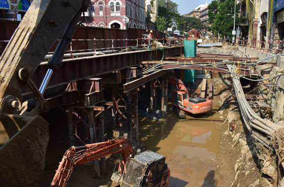Excavation progress in Grid 19-24 at Hutatma Chowk Station