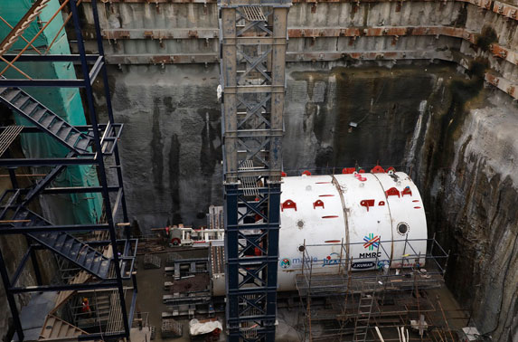 TBM lowered at Vidyanagari launching shaft.