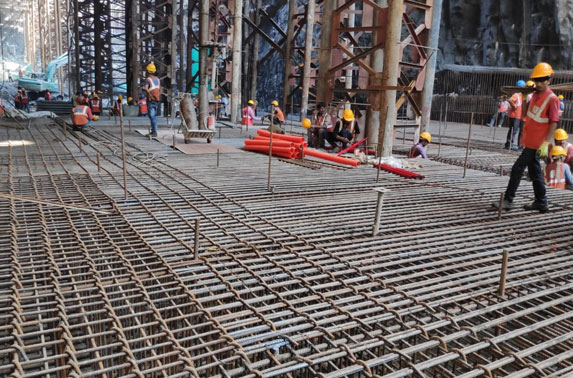 Base Slab Progress in Grid 10-12 at Churchgate Station