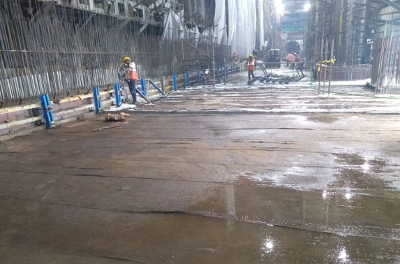 Base Slab Progress in Grid 14-17 at Churchgate Station