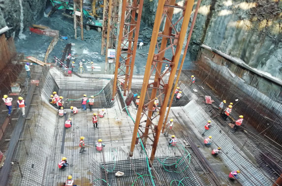 Base Slab Progress in Grid 2-4 at Cuffe Parade Station