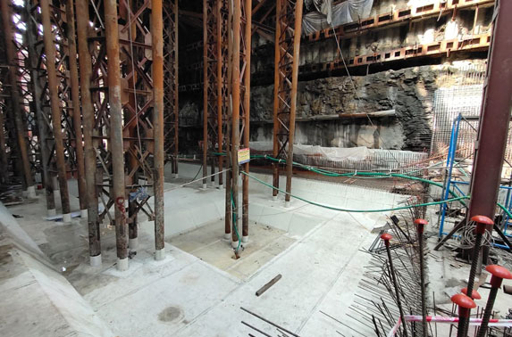 Base Slab Progress in Grid 8-10 at Cuffe Parade Station