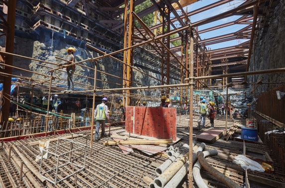 Base Slab Progress in Grid C2-2 at Cuffe Parade Station