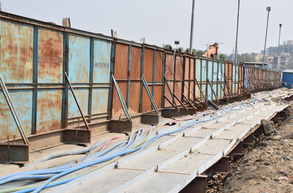 Cable Tray Arrangement supported on Capping Beam for TATA Submarine Cable diversion at Dharavi Station