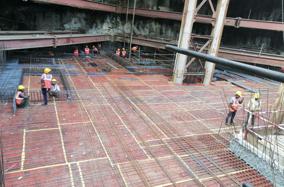 Concourse Slab Progress in Grid 21-23 at Vidhan Bhavan Station