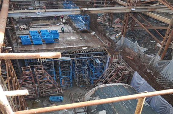 Concourse Slab Progress in Grid 4-5 at Churchgate Station