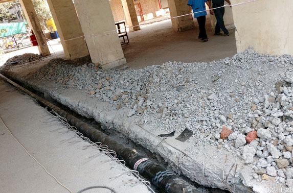 ESIC Firefighting Line Shifting work is in progress at MIDC Station