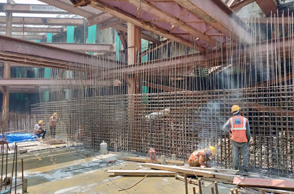 MS-RS Wall Progress in Grid 6-9 at Vidhan Bhavan Station