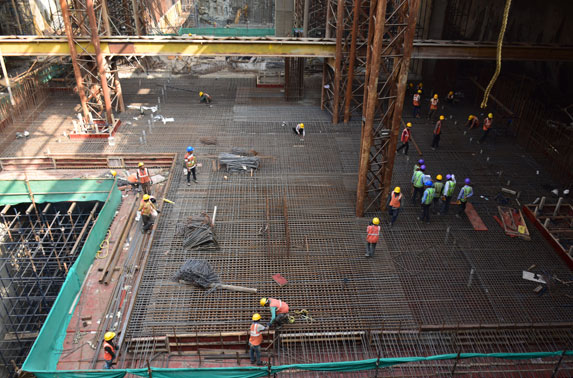 Mumbai Central - Concourse Slab reinforcement work in progress. Concrete Casting done on 05.01.2020