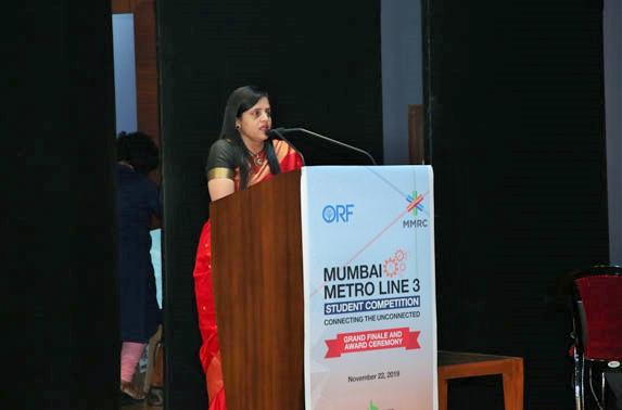 "Speaking on the occasion MD. MMRC, Ms. Ashwini Bhide said, ""MMRC is always open for innovative ideas and new concepts. The young and incredible talent will work with us in designing the future infrastructure. We thank ORF for initiating this competition jointly."""