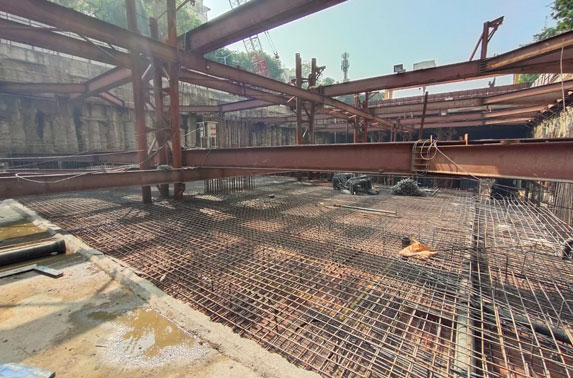 Parking Slab Progress in Grid 12-13 at Cuffe Parade Station