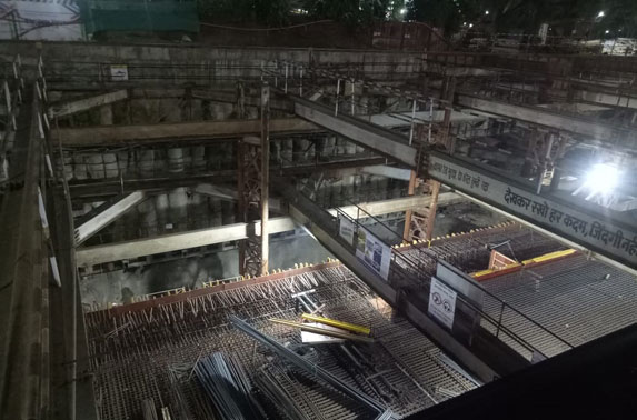 Roof Slab Reinforcement Progress in Grid 4-6 at Churchgate Station