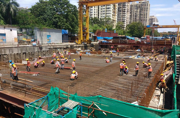 Roof Slab Reinforcement Progress in Grid C9-C7 at Cuffe Parade Station
