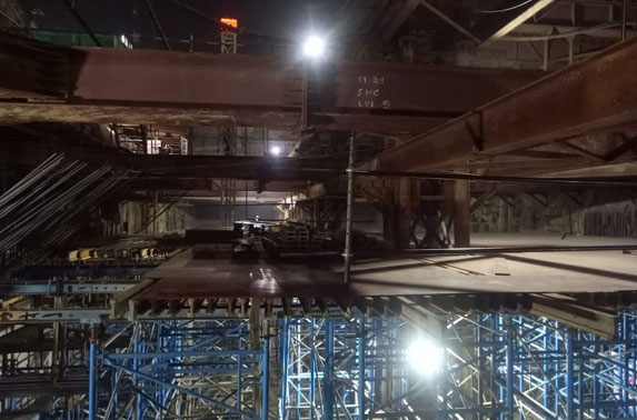Roof Slab Shuttering Progress in Grid 6-7 at Hutatma Chowk Station