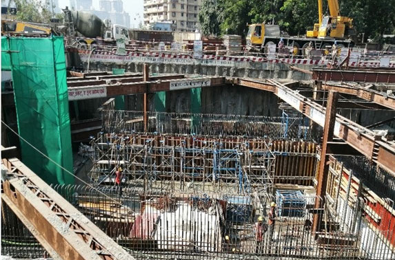 Roof Slab Staging Progress in Grid 3-4 at Vidhan Bhavan Station