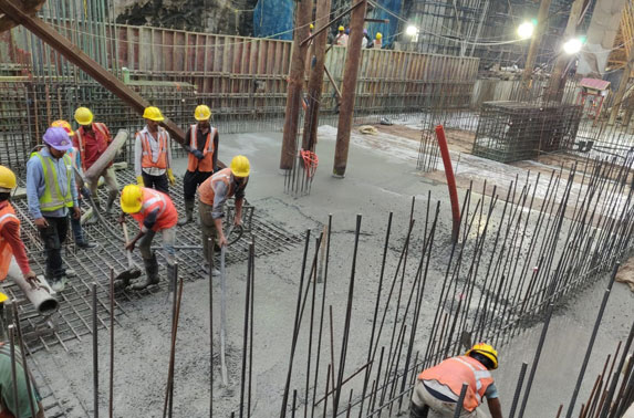 Station Chatrapati Shivaji Pour04 base slab concreting