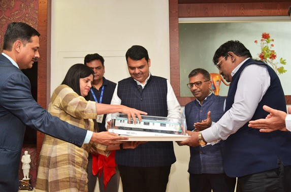 Shri Devendra Fadnavis, The Honorable Chief Minister of Maharashtra Unveils the Rolling Stock design