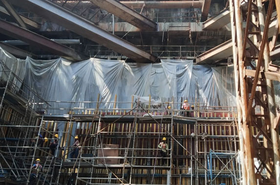 South Head Wall Progress at Churchgate Station