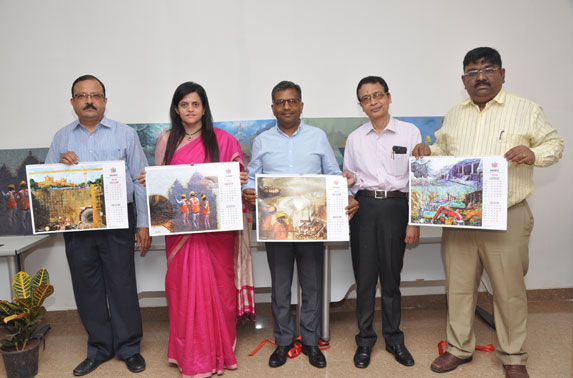 MD. MMRC, Ms. Ashwini Bhide along with Dir. Projects, Mr. S.K.Gupta, Dir. Systems, Mr. A.A.Bhatt, Dir. Finance, Mr. Abodh.Khandelwal & ED. Planning, Mr. R.Ramana unveiled the calendar for the year 2019