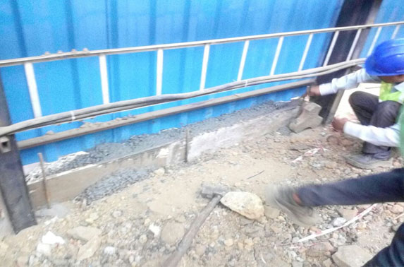 Column footing work for Casting Shed in progress at Casting Yard