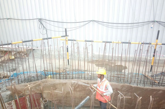 Curing after concrete work for SWD (2m x 2m) diversion in progress at Seepz Station