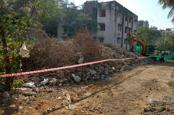 Debris removal work is in progress at MIDC station