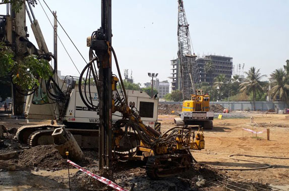 DTH pilling work for P-38 in Progress at Mid Shaft area