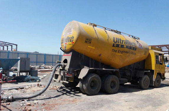 Feeding Cement into Hopper at Batching Plant in Casting Yard