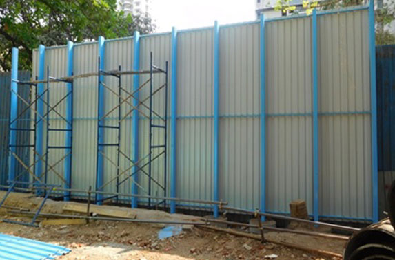 High fencing near residential buildings