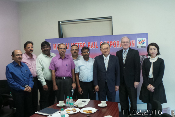 Present for the meeting with IHRA at MMRC were Mr. A. A. Bhatt Director (Systems), Mr. R.K. Sharma, Executive Director (Electricals), Mr. R. Ramana, Executive Director (Planning), Mr.Masafumi Shukuri, Chairman, IHRA, Mr.Torkel Patterson, Vice Chairman, IHRA, Mr.Tomoko Oshi, Secretariat, IHRA.