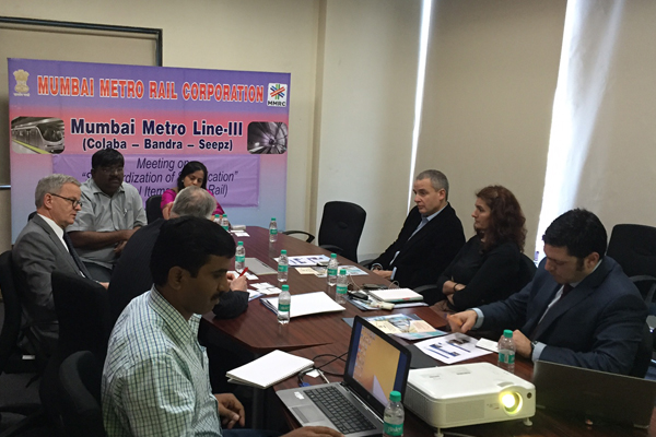 At MMRC office Mrs. Ashwini Bhide, MD, MMRC, Mr. R. Ramana, Executive Director (Planning) MMRC, Mr. D.M. Binnar Dy.GM (Depot) with the delegation of European Union World cities Ronald Hall Principle Advisor (DG Reginal and urban policy, European Commission), Walter DEFFAA, Director General (Regional and urban policy), Pablo G'andara, Project Coordinator China-India, Panagiotis Karamanos, Senior expert India and Ashwini Thakkar, Manager (Programmes and Projects Mumbai first) were present at the meeting.