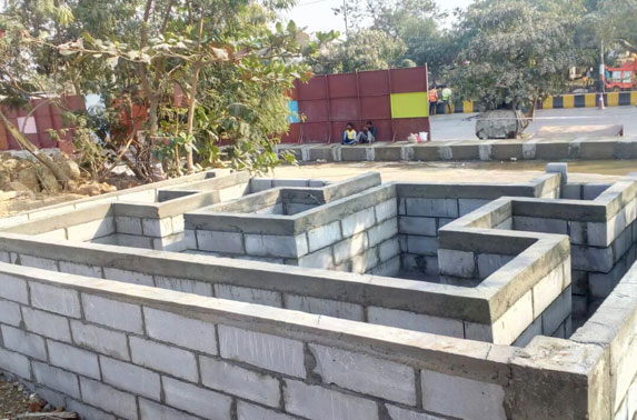 New foundation for shifting of existing Reliance transformer Gantry foundation in progress at Casting Yard