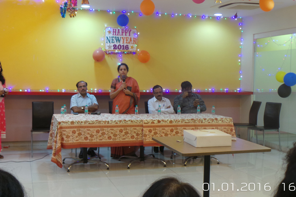 New Year Eve Celebration at MMRC Mrs. Ashwini Bhide, MD, MMRC addressing the staff members of MMRC