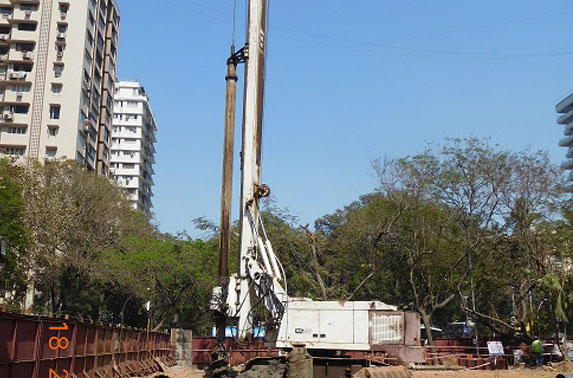 Piling at launch shaft location at Cuffe Parade