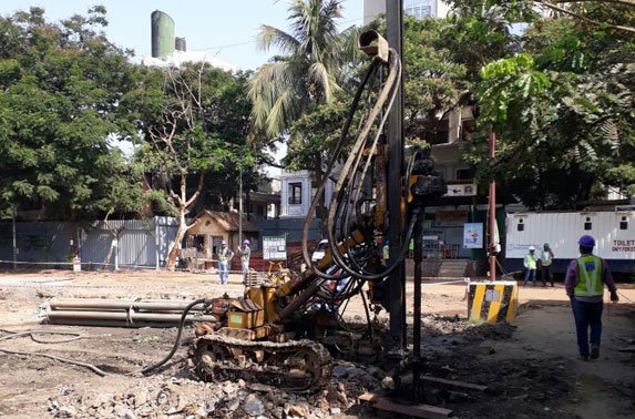 Primary Pile P-41 drilling in Progress at Mid Shaft area (Pali Ground)