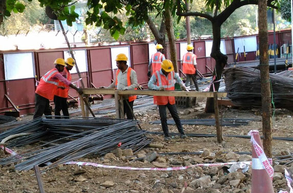 Rebar Cutting & bending work in progress for SWD at Seepz Station