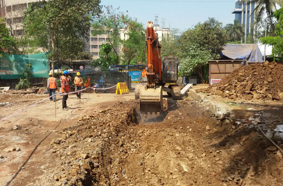Retaining structure excavation is in progress at MIDC