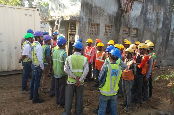 Safety Talk for bar bending, shuttering & housekeeping at Seepz Station