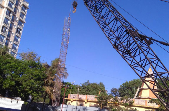 Secant pile S-32 cage lowering work in progress at Mid Shaft area