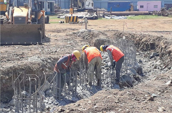 Secant pile chipping work for capping beam in Progress at Mid Shaft area (Pali Ground)