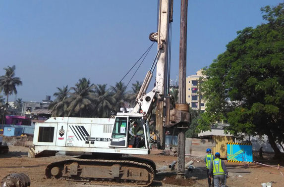 Secant pile S-23 piling work in progress at Mid Shaft area