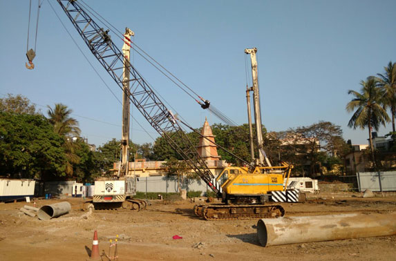 Piling work is in progress at Mid Shaft