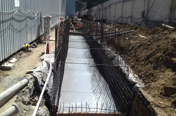 Storm water drain diversion (Raft concrete) work in progress at Seepz Station