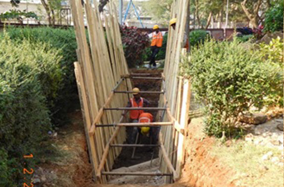Trial trench for utility identification at Vidhan Bhavan