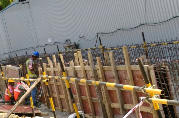 Wall shuttering work for Storm Water Drain (2m x 2m) diversion at Seepz Station