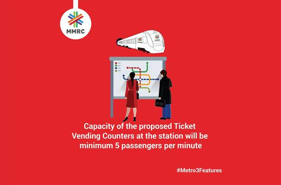 Capacity of the proposed Ticket Vending Counters at the station will be minimum 5 passengers per minute