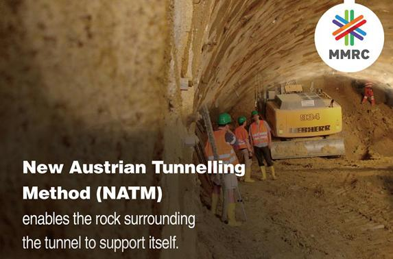 New Austrian Tunnelling Method (NATM) enables the rock surrounding the tunnel to support itself.