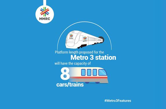 Platform length proposed for the Metro 3 station will have the capacity of 8 cars trains