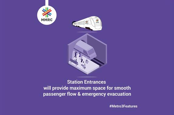 Station Entrances will provide maximum space for smooth passenger flow & emergency evacuation